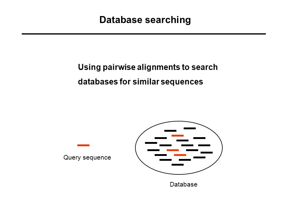 Database searching Using pairwise alignments to search
