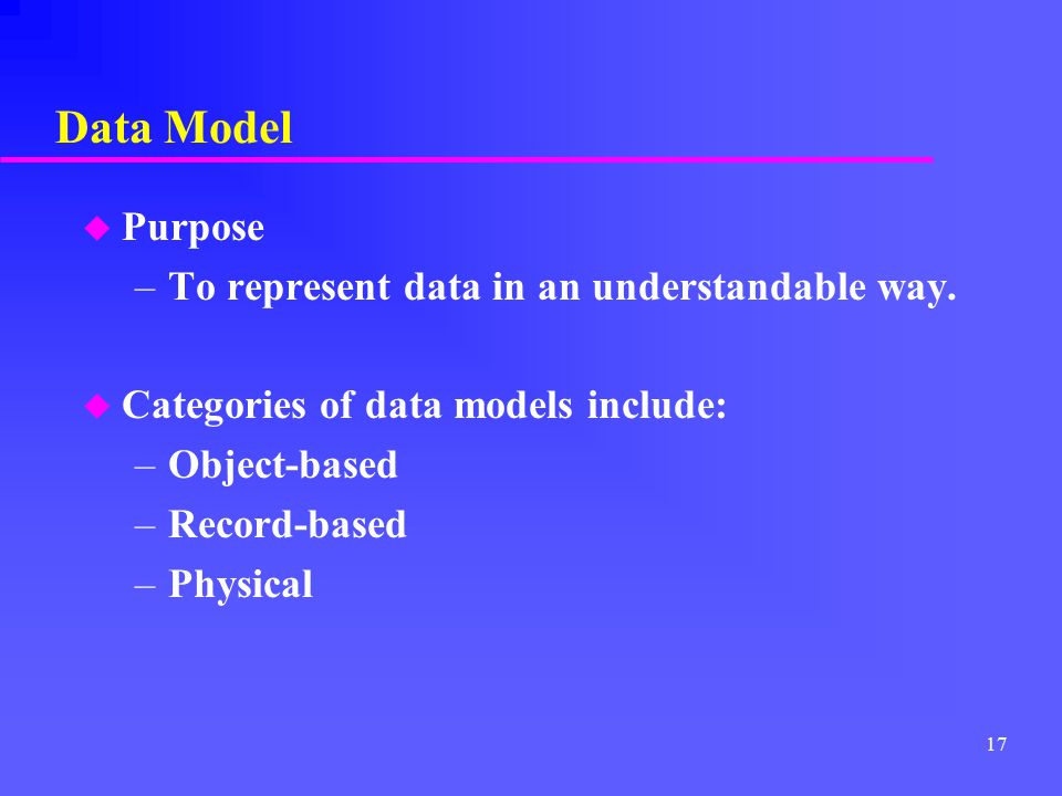 Data Model Purpose To represent data in an understandable way.