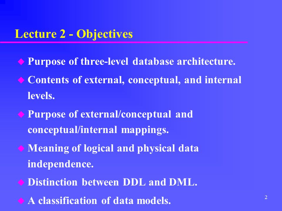 Lecture 2 - Objectives Purpose of three-level database architecture.