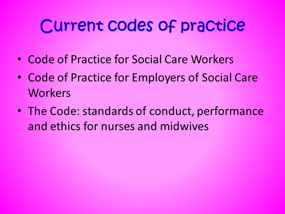 Current codes of practice