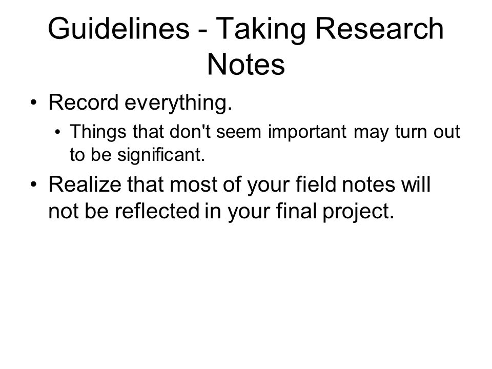 Guidelines - Taking Research Notes