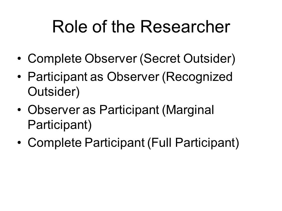Role of the Researcher Complete Observer (Secret Outsider)