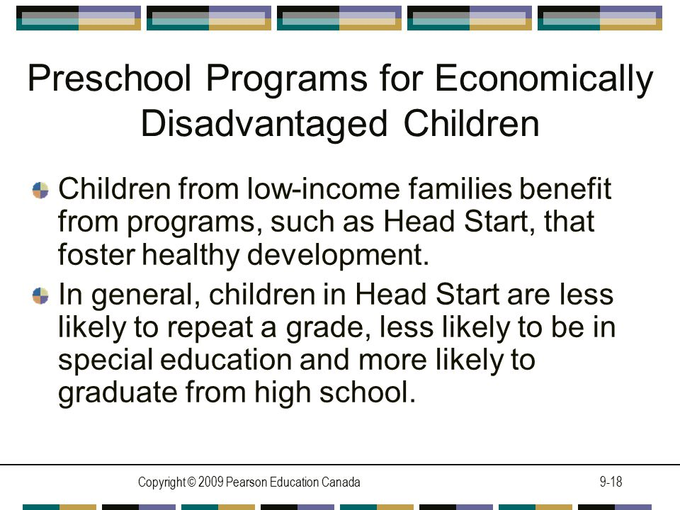 Preschool Programs for Economically Disadvantaged Children