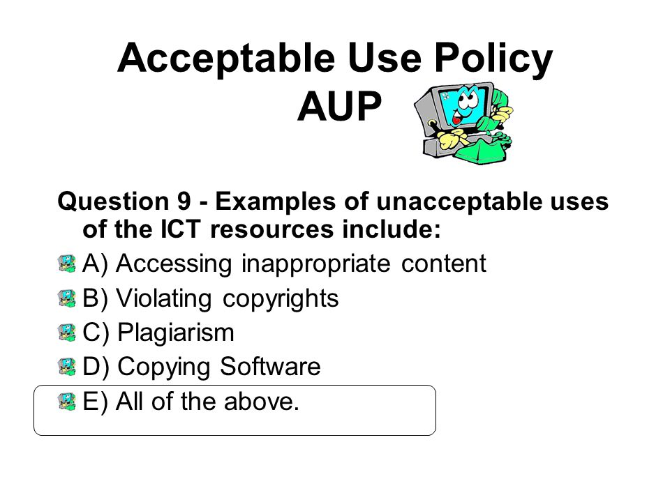 acceptable use policy definition You may not use, or encourage, promote, facilitate or instruct others to use, the services or aws site for any illegal, harmful, fraudulent, infringing or offensive use, or to transmit, store, display, distribute or otherwise make available content that is illegal, harmful, fraudulent, infringing or offensive.