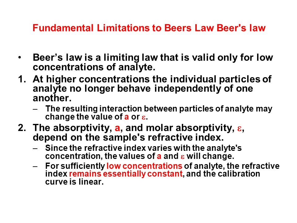 Fundamental Limitations to Beers Law Beer s law
