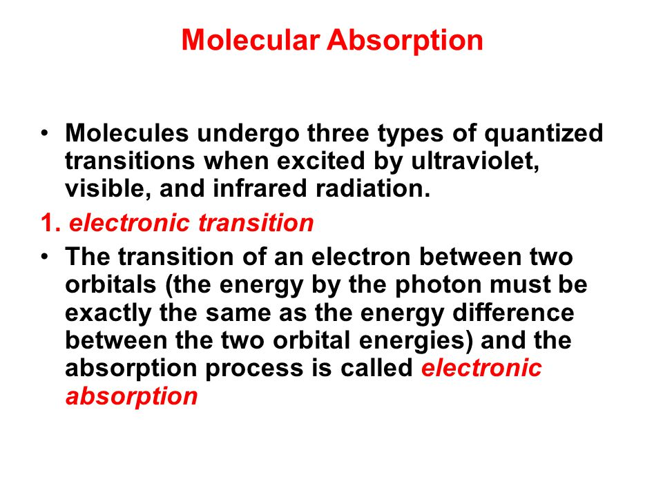 Molecular Absorption Molecules undergo three types of quantized transitions when excited by ultraviolet, visible, and infrared radiation.