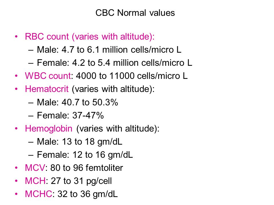 CBC Normal values RBC count (varies with altitude): Male: 4.7 to 6.1 million cells/micro L. Female: 4.2 to 5.4 million cells/micro L.