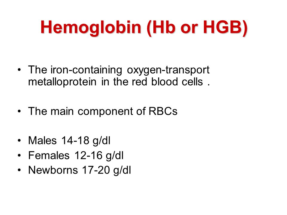 Hemoglobin (Hb or HGB) The iron-containing oxygen-transport metalloprotein in the red blood cells .