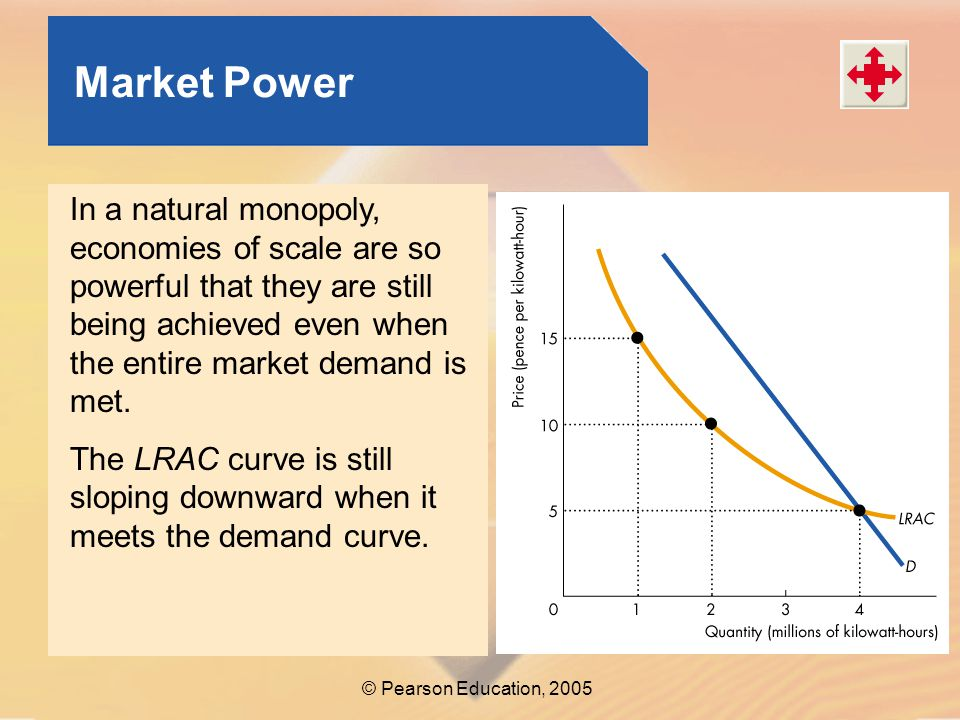 Market Power In a natural monopoly, economies of scale are so powerful that they are still being achieved even when the entire market demand is met.