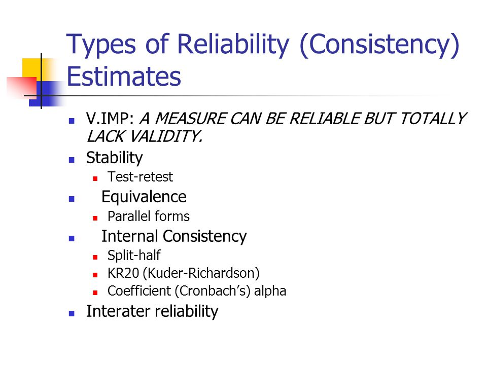 Types of Reliability (Consistency) Estimates