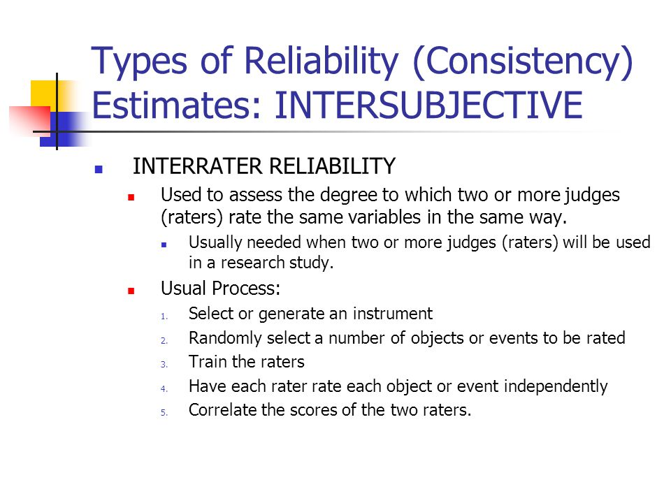 Types of Reliability (Consistency) Estimates: INTERSUBJECTIVE
