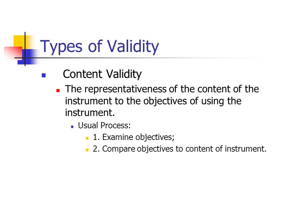 Types of Validity Content Validity