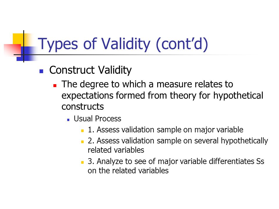 Types of Validity (cont'd)