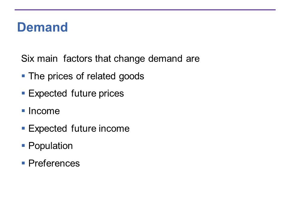 Demand Six main factors that change demand are