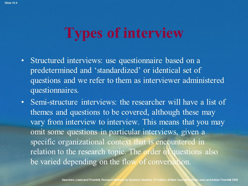 types of interview methods