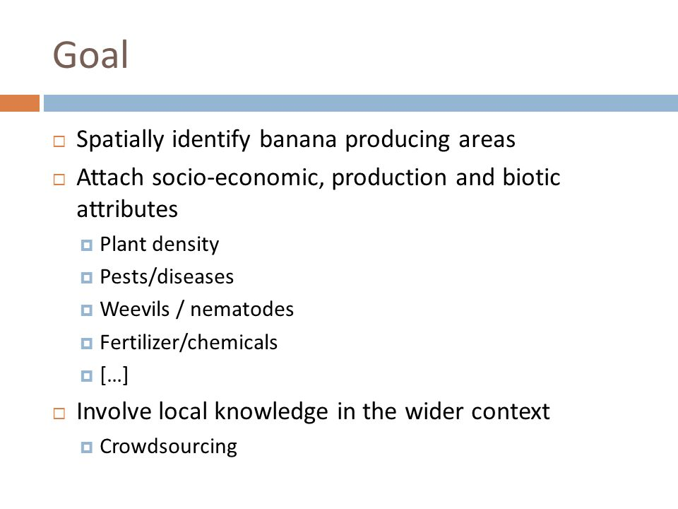 Goal Spatially identify banana producing areas