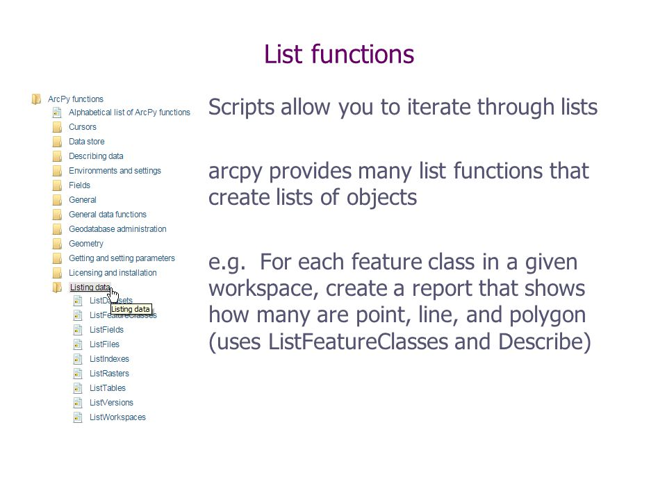 arcpy Describe and arcpy List* - ppt video online download