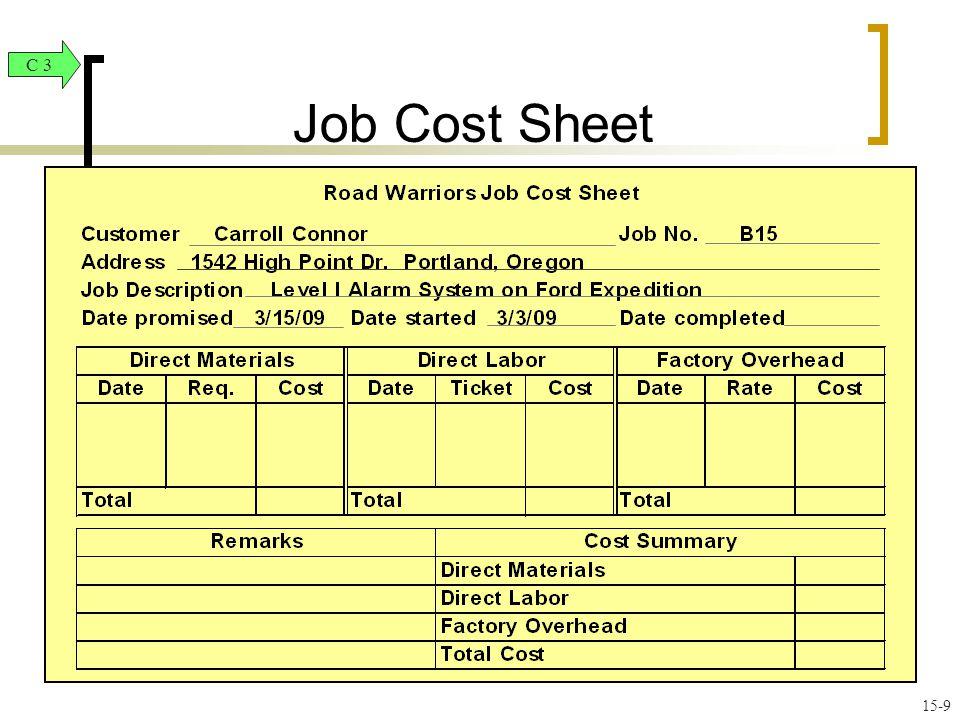 job cost sheet c 3