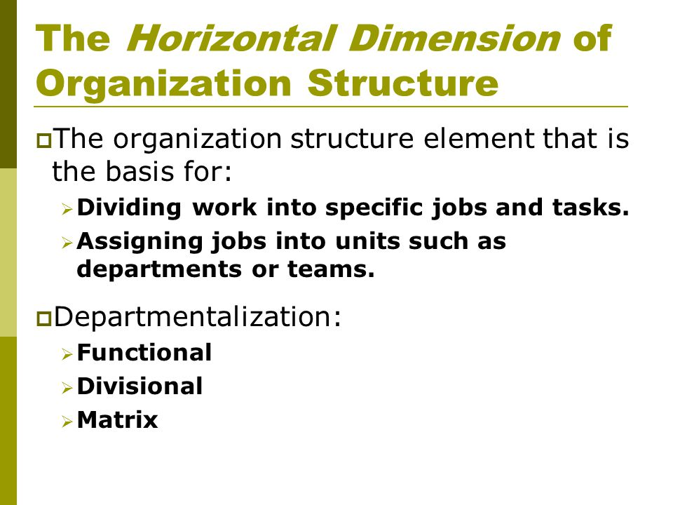 The Horizontal Dimension of Organization Structure