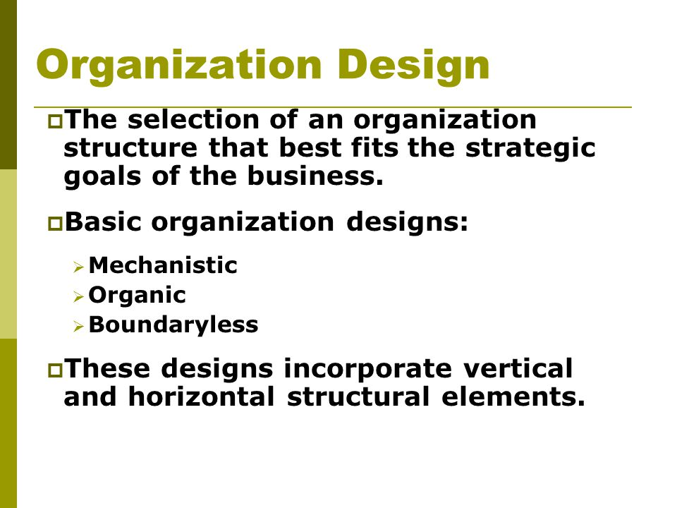 Organization Design The selection of an organization structure that best fits the strategic goals of the business.