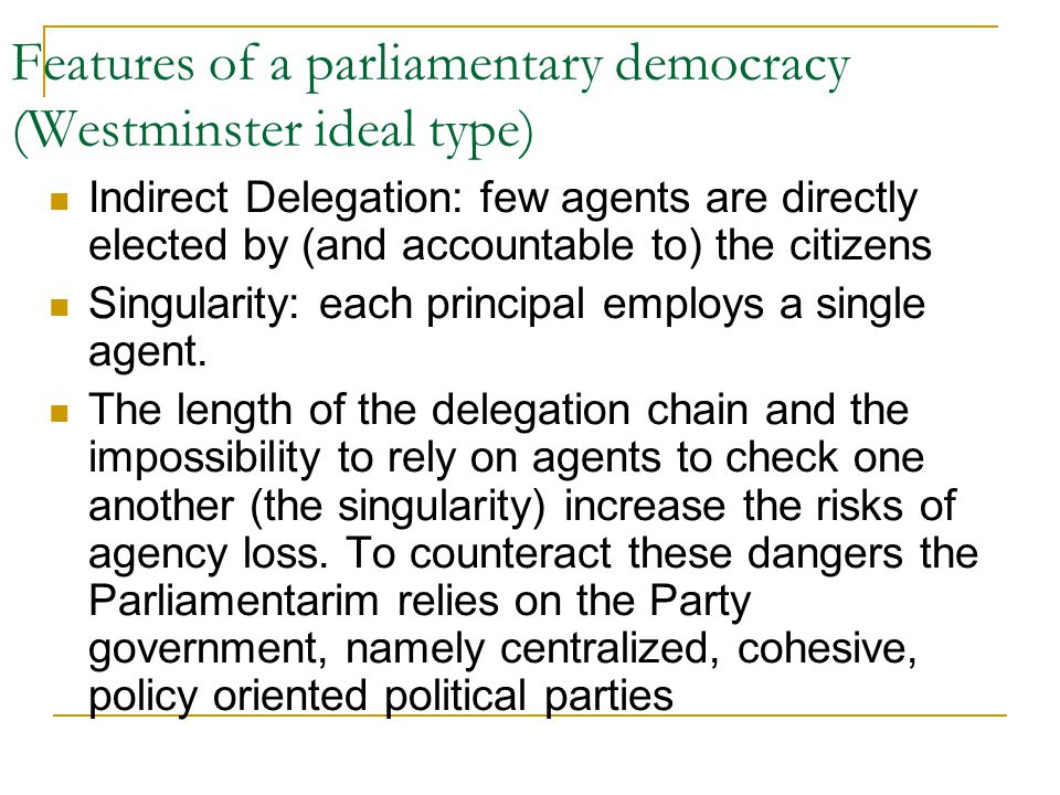 main features of parliamentary democracy