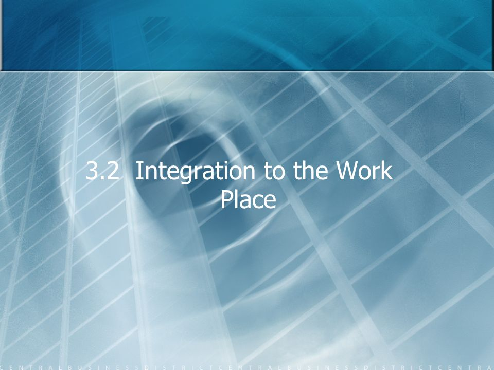 3.2 Integration to the Work Place