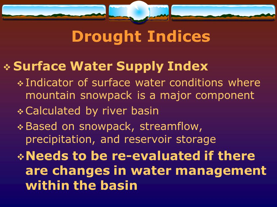 Drought Indices Surface Water Supply Index