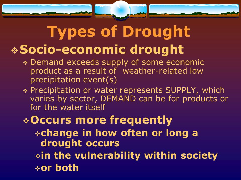 Types of Drought Socio-economic drought Occurs more frequently