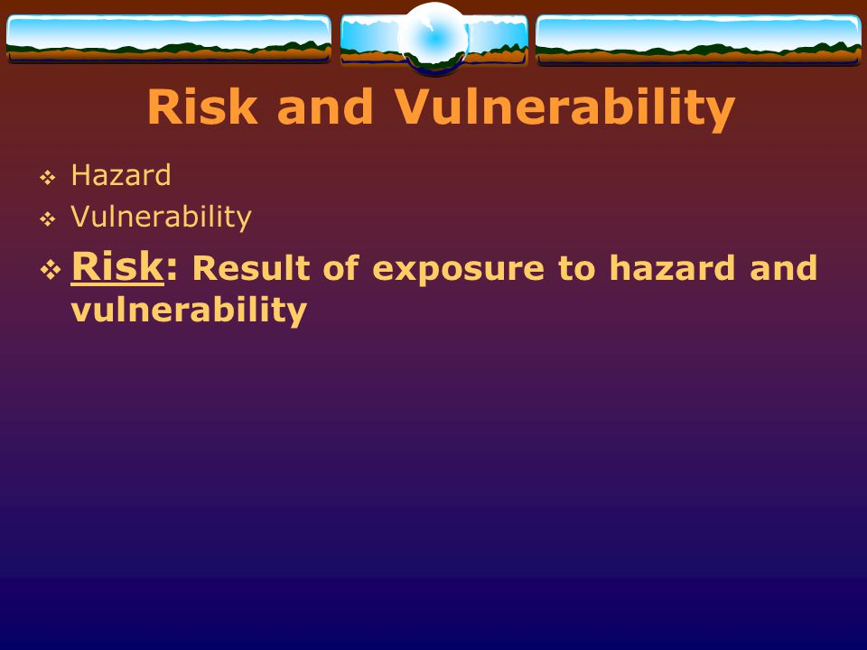 Risk and Vulnerability