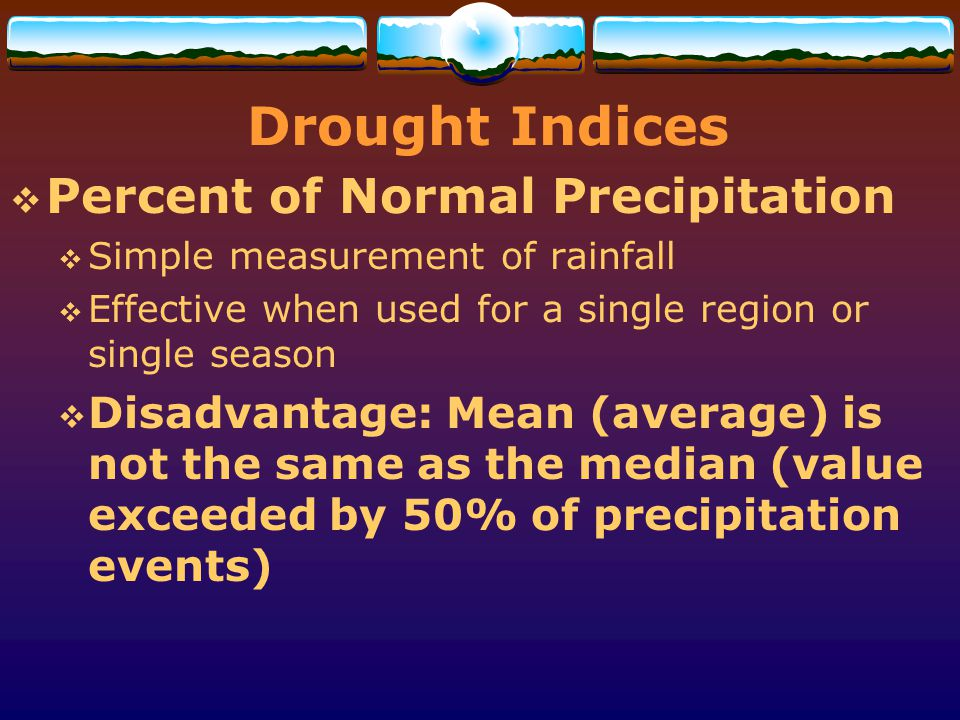Drought Indices Percent of Normal Precipitation