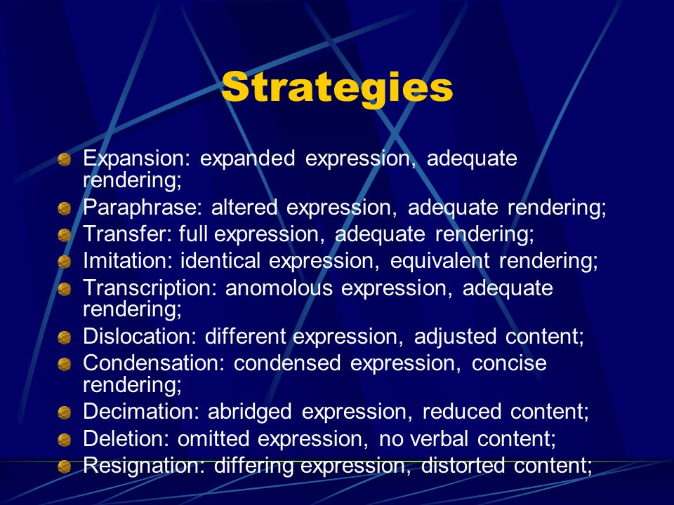 Strategies Expansion: expanded expression, adequate rendering;