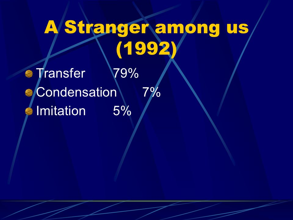 A Stranger among us (1992) Transfer 79% Condensation 7% Imitation 5%