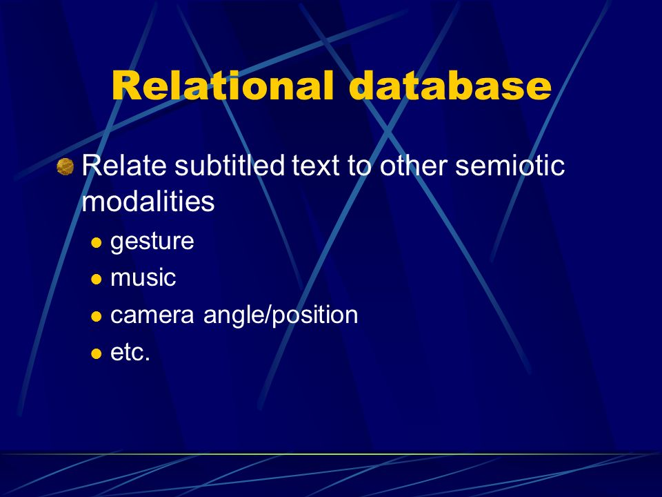 Relational database Relate subtitled text to other semiotic modalities