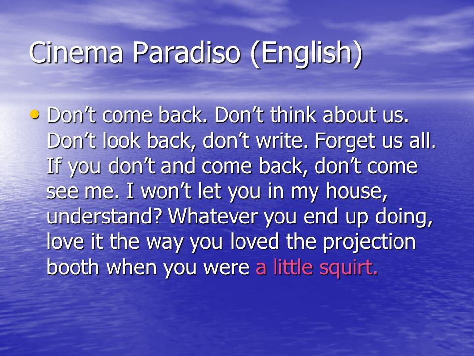 Cinema Paradiso (English)