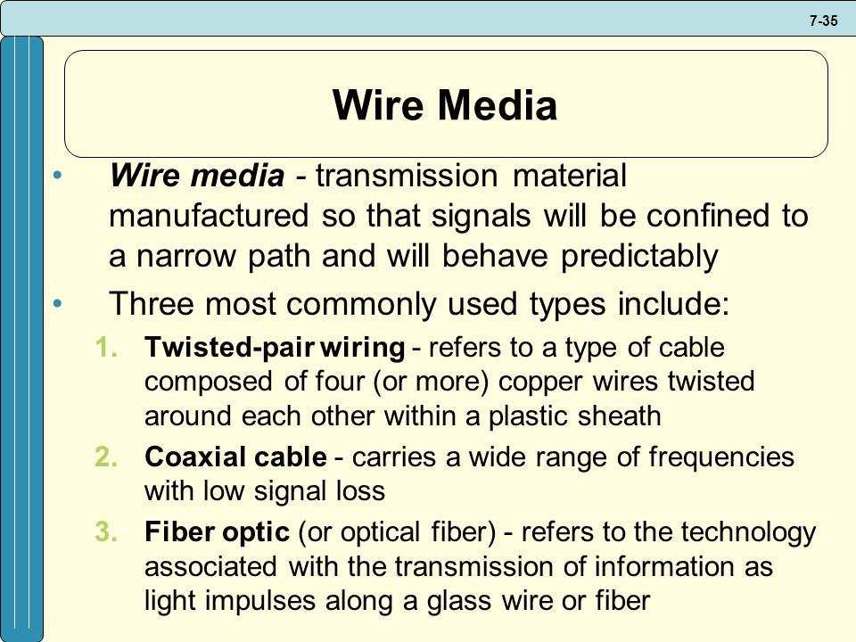 Wire Media Wire media - transmission material manufactured so that signals will be confined to a narrow path and will behave predictably.