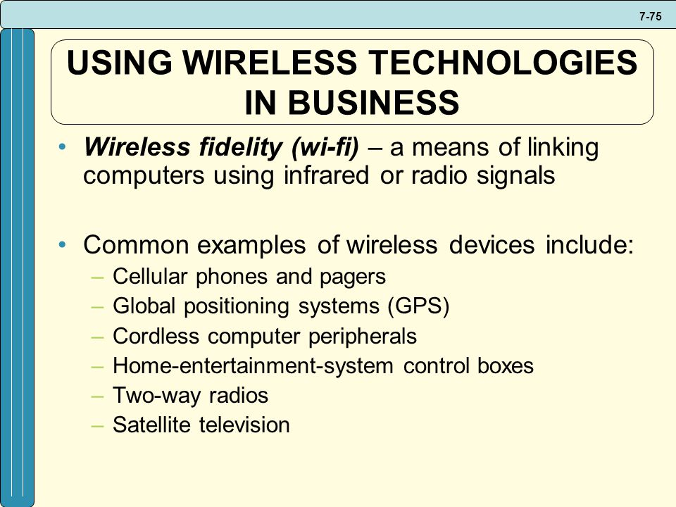 USING WIRELESS TECHNOLOGIES IN BUSINESS
