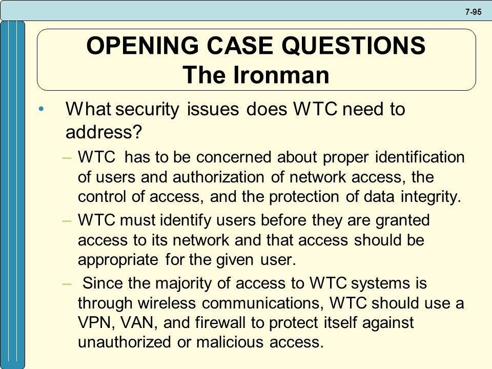 OPENING CASE QUESTIONS The Ironman