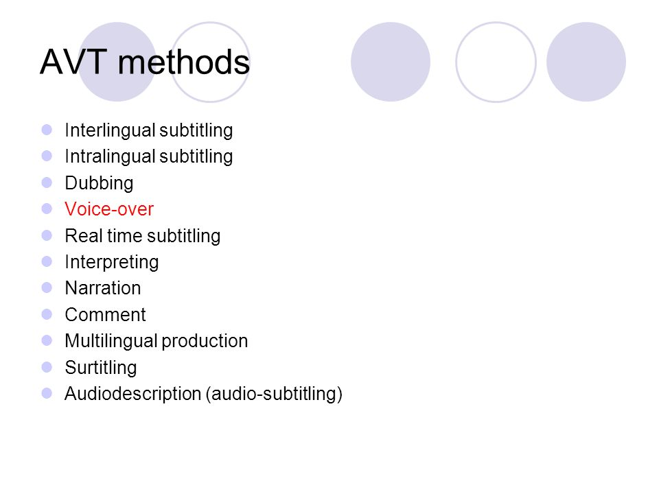 AVT methods Interlingual subtitling Intralingual subtitling Dubbing