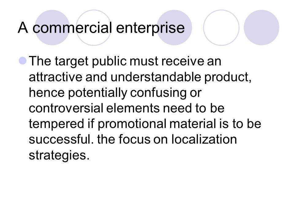 A commercial enterprise