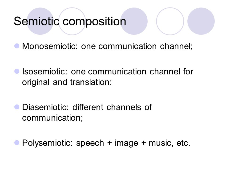 Semiotic composition Monosemiotic: one communication channel;