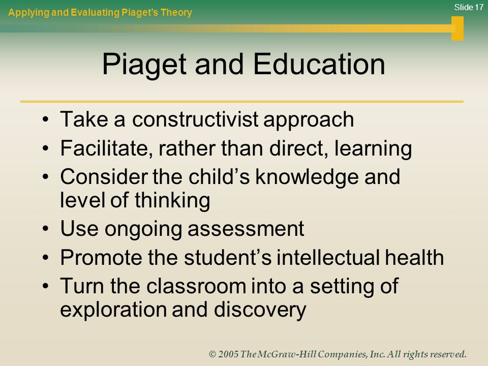 Piaget and Education Take a constructivist approach