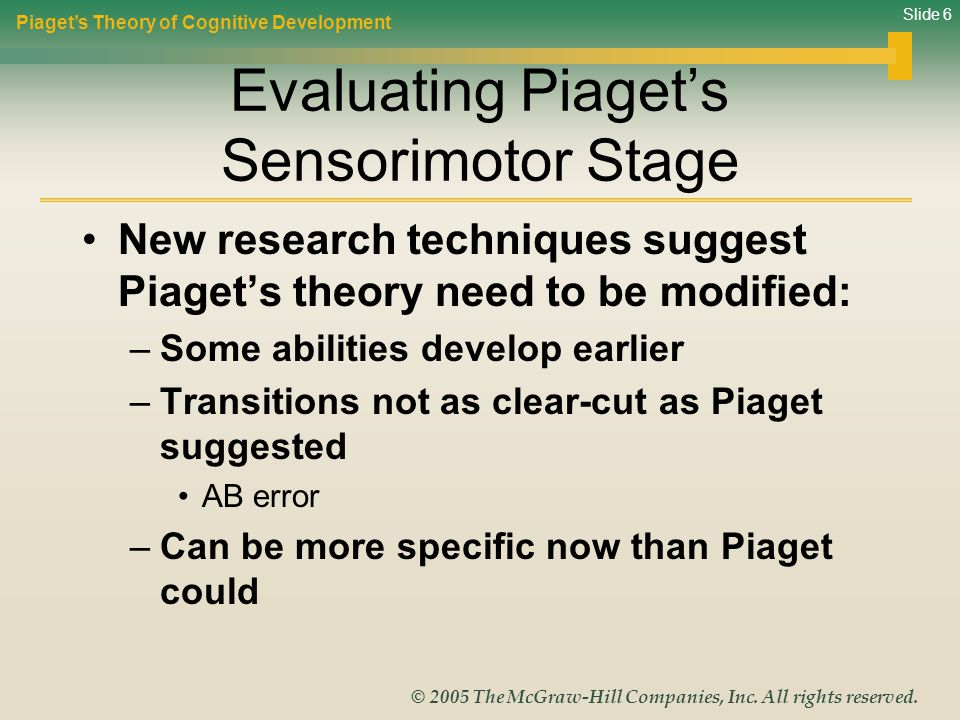 Evaluating Piaget's Sensorimotor Stage