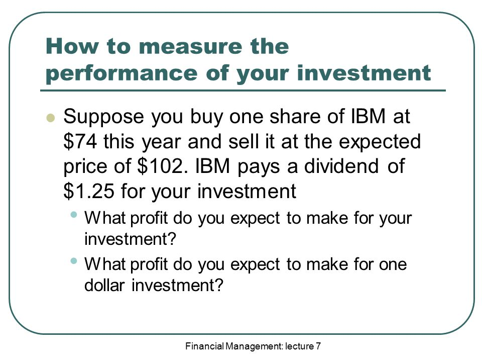 How to measure the performance of your investment