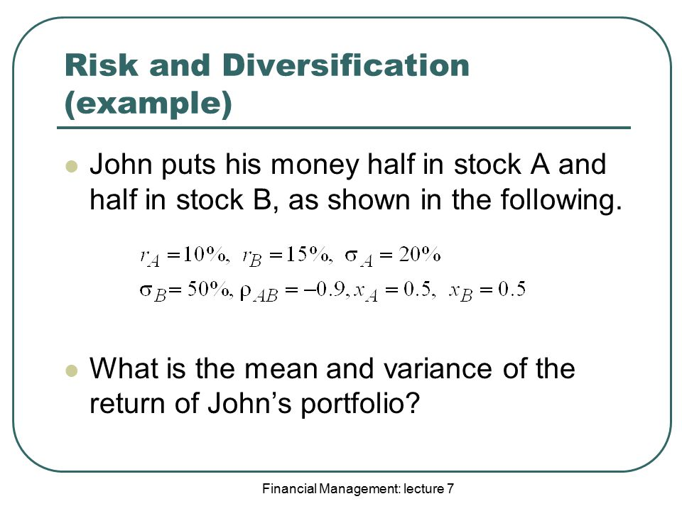 Risk and Diversification (example)