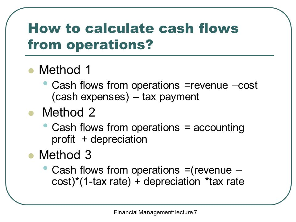 How to calculate cash flows from operations