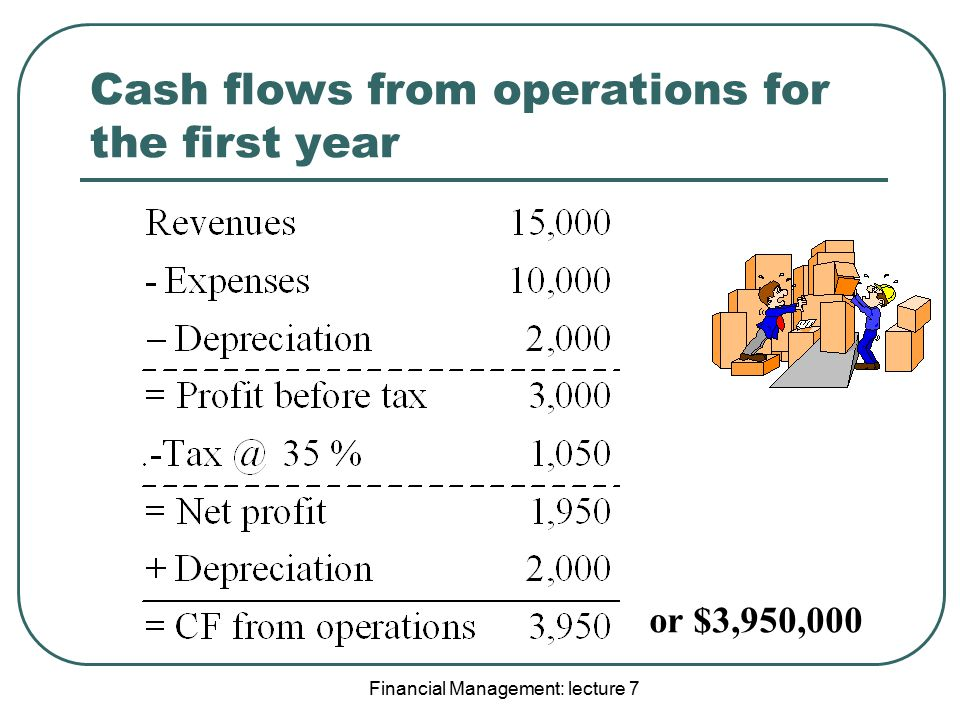 Cash flows from operations for the first year