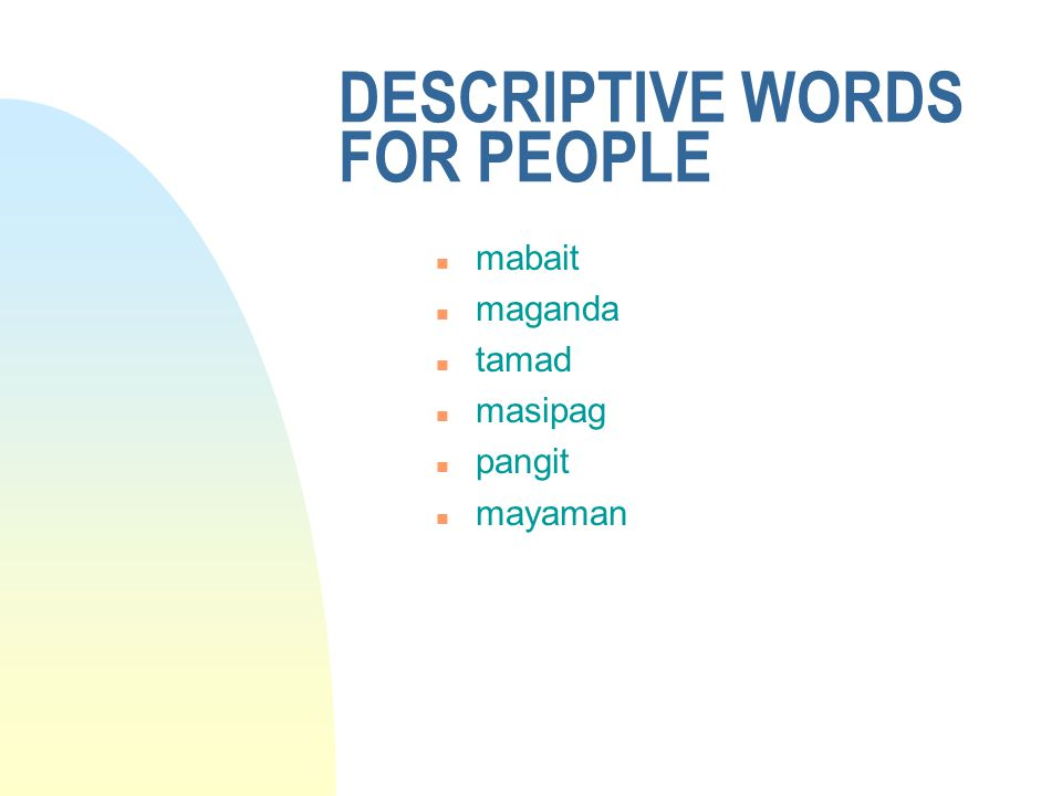 DESCRIPTIVE WORDS FOR PEOPLE