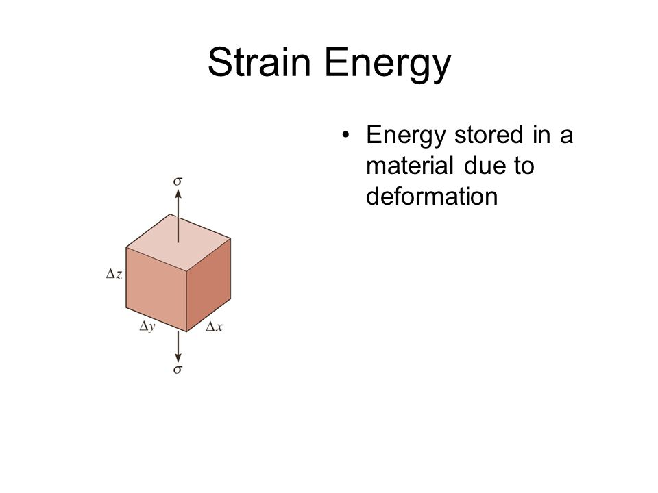 Strain Energy Energy stored in a material due to deformation