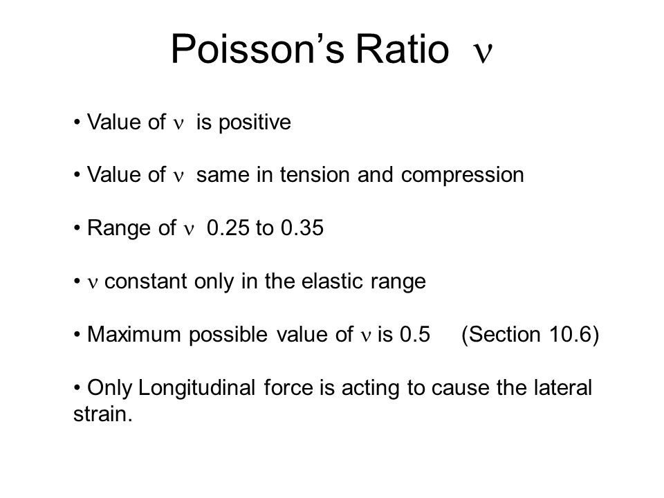 Poisson's Ratio  Value of  is positive