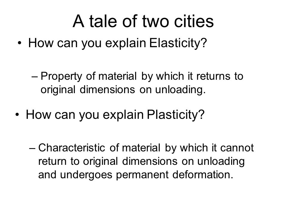 A tale of two cities How can you explain Elasticity